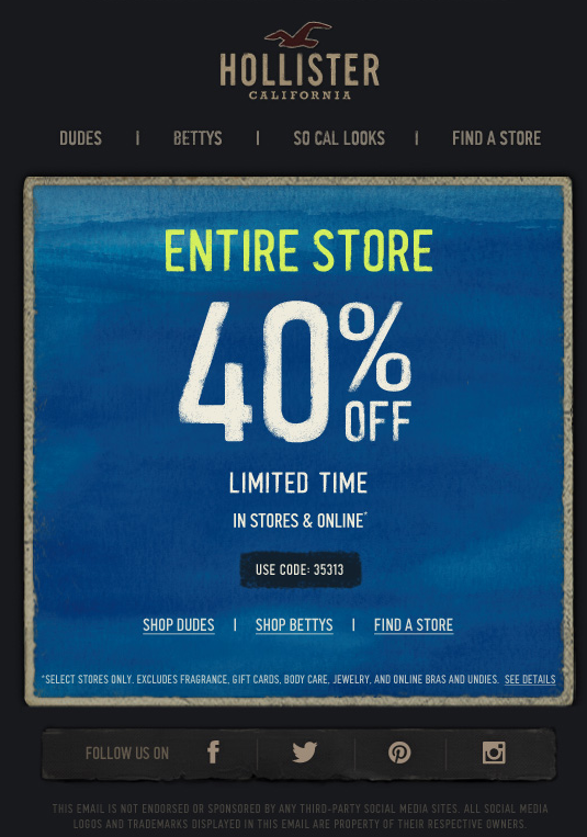 Hollister 40 Off Printable Coupon Promo Codes Coupon Coupon Apps Printable Coupons