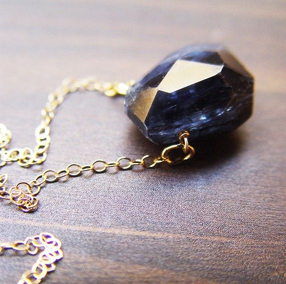 Navy Kyanite Nugget Gold Necklace by friedasophie on Etsy