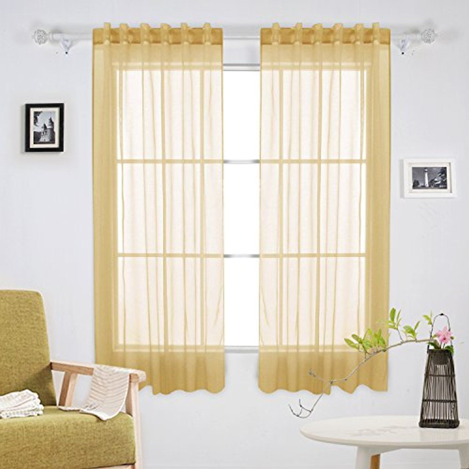 Deconovo Home Decoration Sheer Curtains Rod Pocket and Back Tab ...