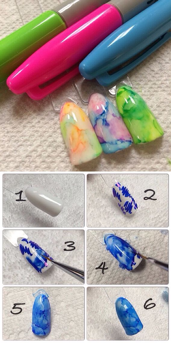 Apply White Nail Or Gel Polish Scribble With A Sharpie Use Regular Old Rubbing Alcohol And A Brush And Just Dab Sharpie Nails Sharpie Nail Art Nail Art Hacks