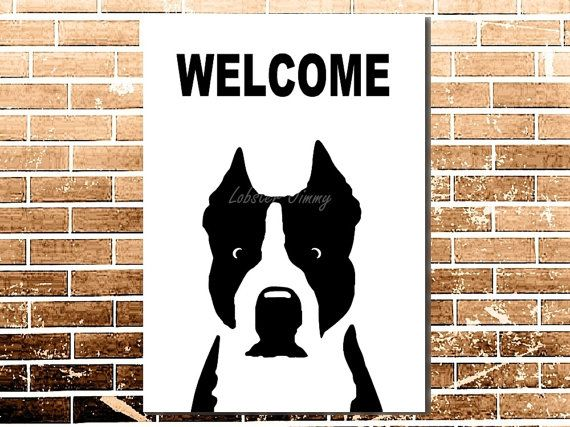 Welcome Dog Gifts, Personalized Dog Poster, Funny Pets Downloads, American Staffordshire Terrier, Dog Portrait