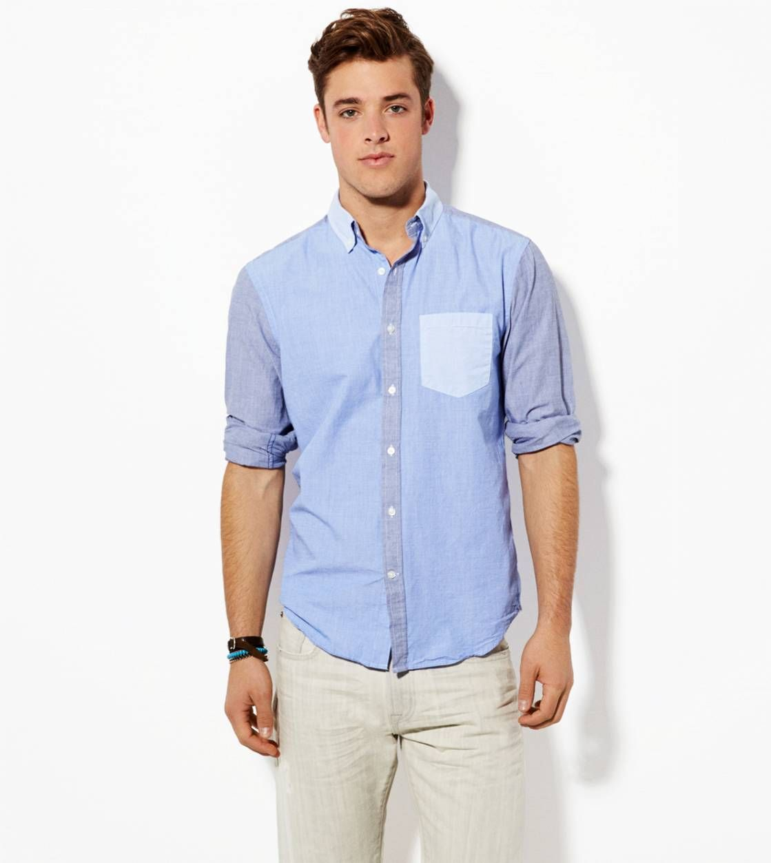 Blue Colorblock Button Down Shirt from @American Eagle Outfitters ...