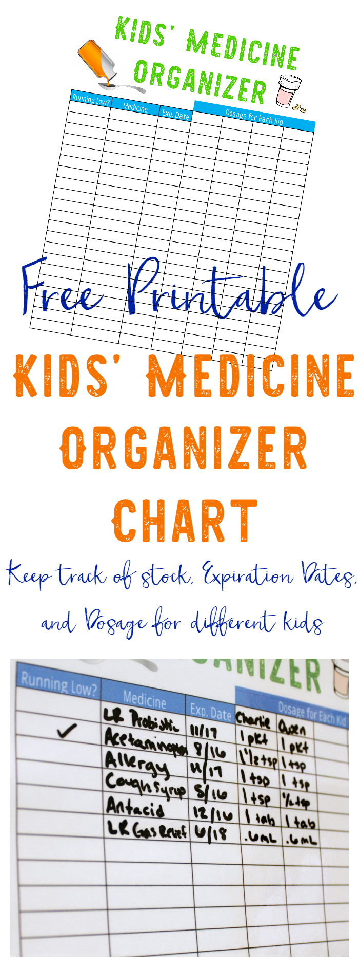 Free Printable Medicine Chart For Kids  Free Printable Medicine