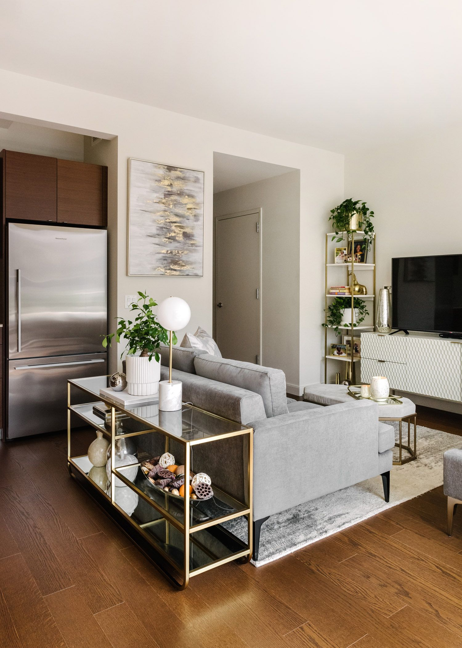 At Home with Design Crew: Neutral Meets Glam in a Small-Space Studio Apartment in NYC - Front + Main