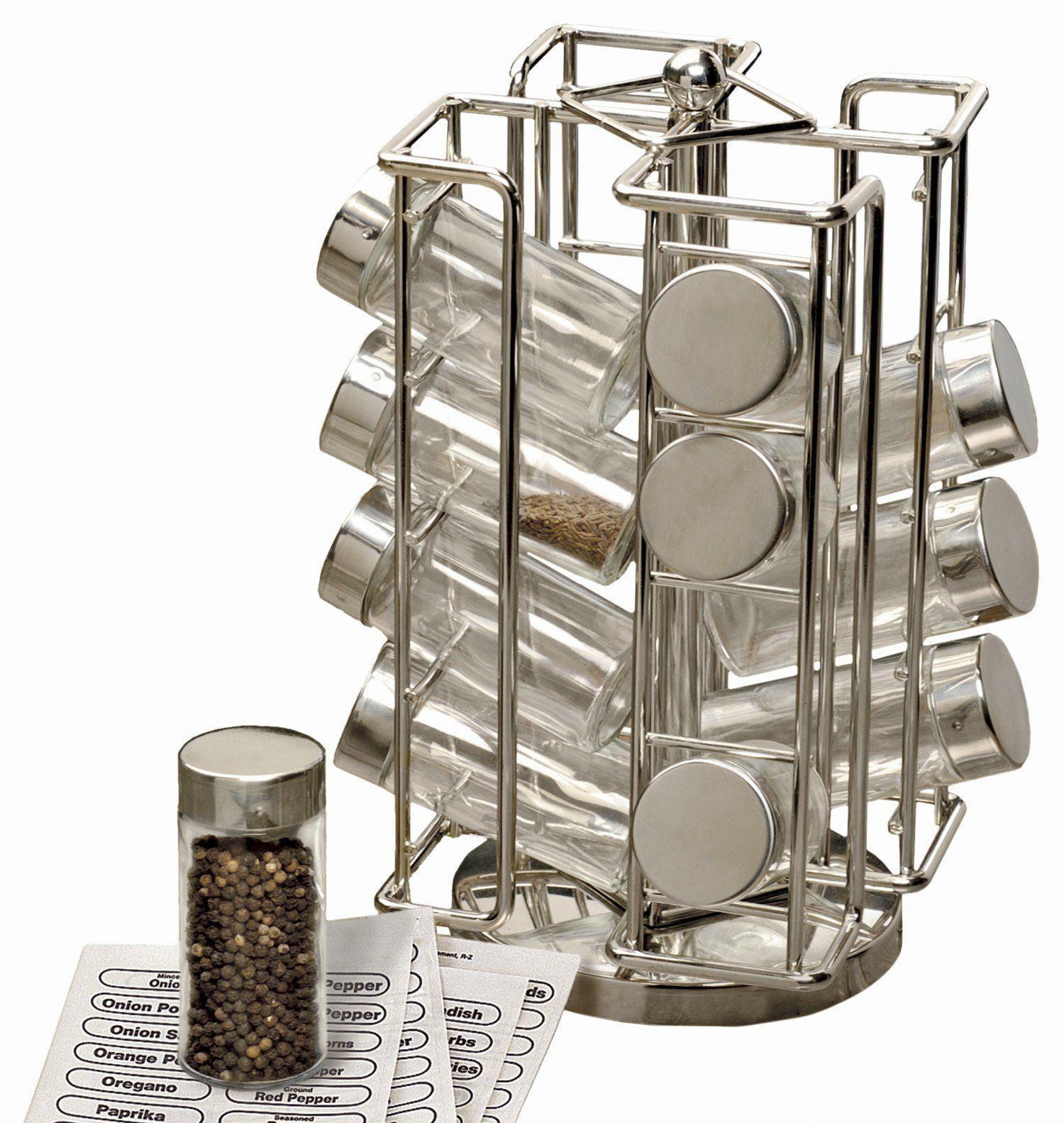 RSVP International 16 Bottle Stainless Steel Revolving Spice Rack