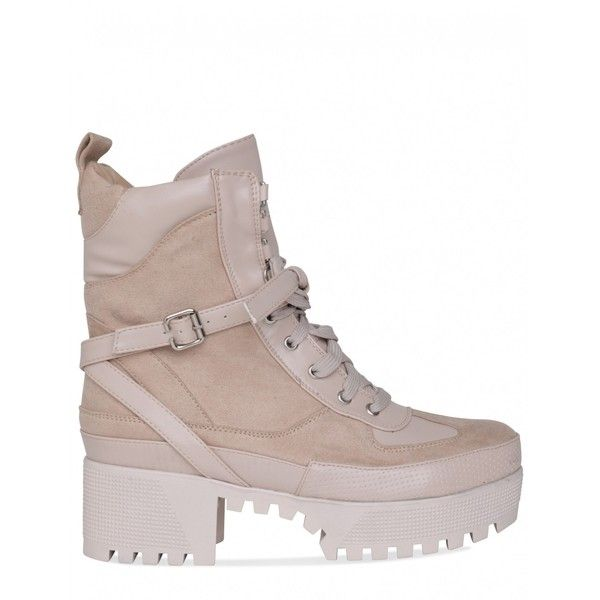 4e20d20ff555 Decline Chunky Platform Lace Up Biker Ankle Boots In Nude Faux Suede  (873.285 IDR) ❤ liked on Polyvore featuring shoes