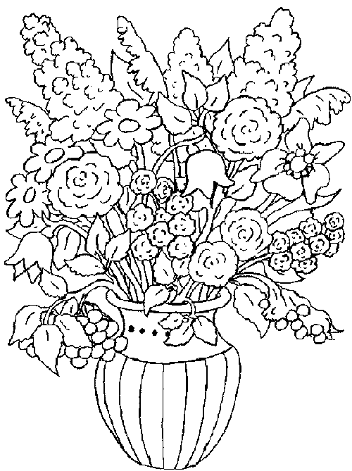 a bouquet of flowers coloring pages for kids