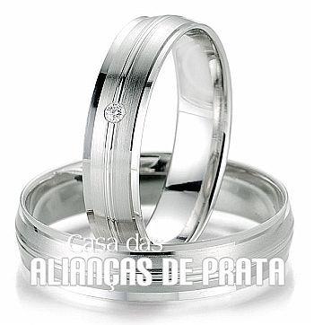 Par de alianas de compromisso em prata 950 http