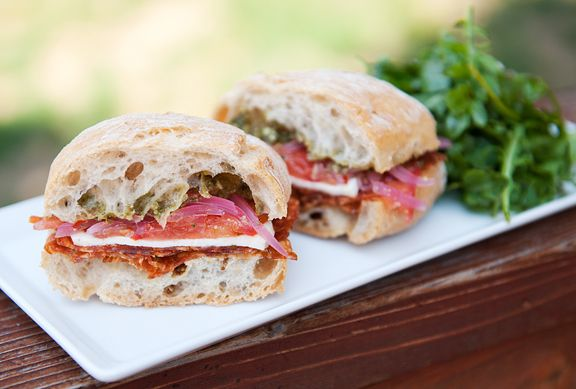 Calabrese Sandwich Ciabatta With Pesto Mustard Spicy Salami
