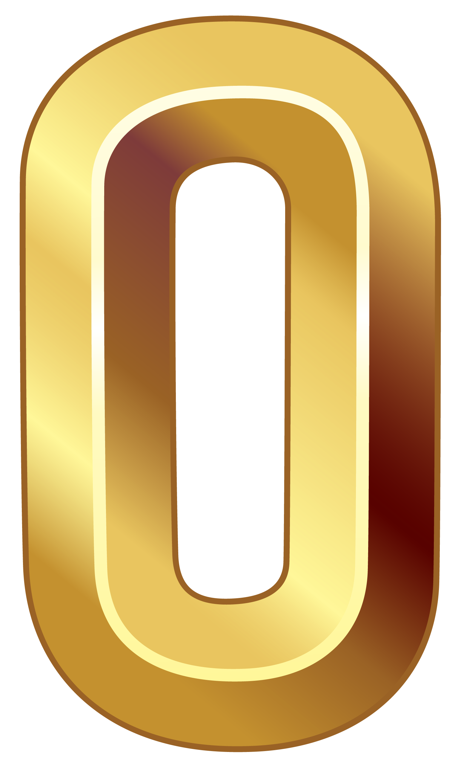 Gold Number Zero Png Clipart Image