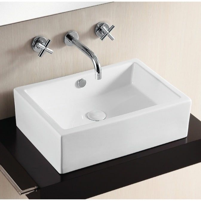 Caracalla By Nameeks Ca4532 White Ceramic No Hole Rectangular Vessel Bathroom Sink 12 17 Inch Products Vessel Sink Bathroom Basin Bathroom