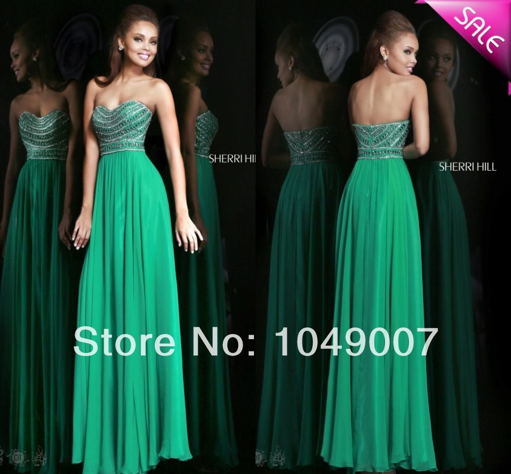 2014 Gorgeous Sweetheart Crystal Green Prom Dresses Long Party ...