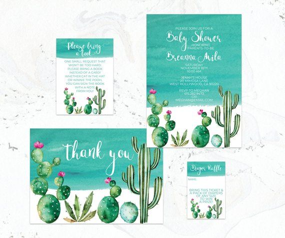 Adorable Pink And Turquoise Cactus Baby Shower Invitations