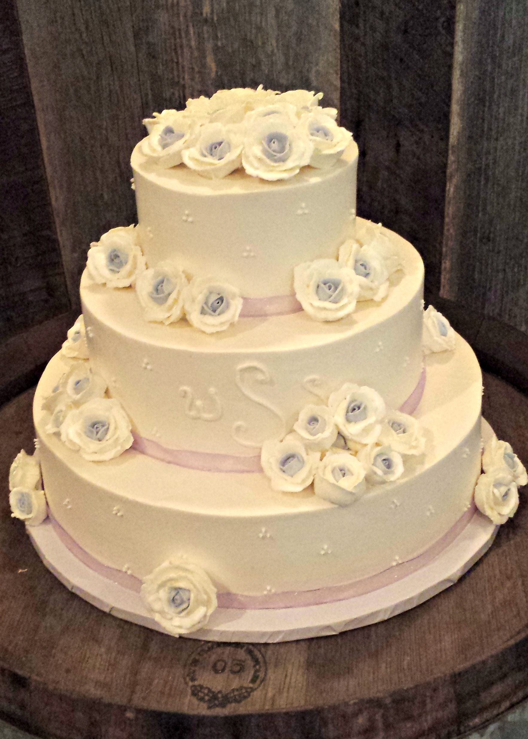 Gluten Free Buttercream Wedding Cake with Pink Ribbon and Two Toned ...