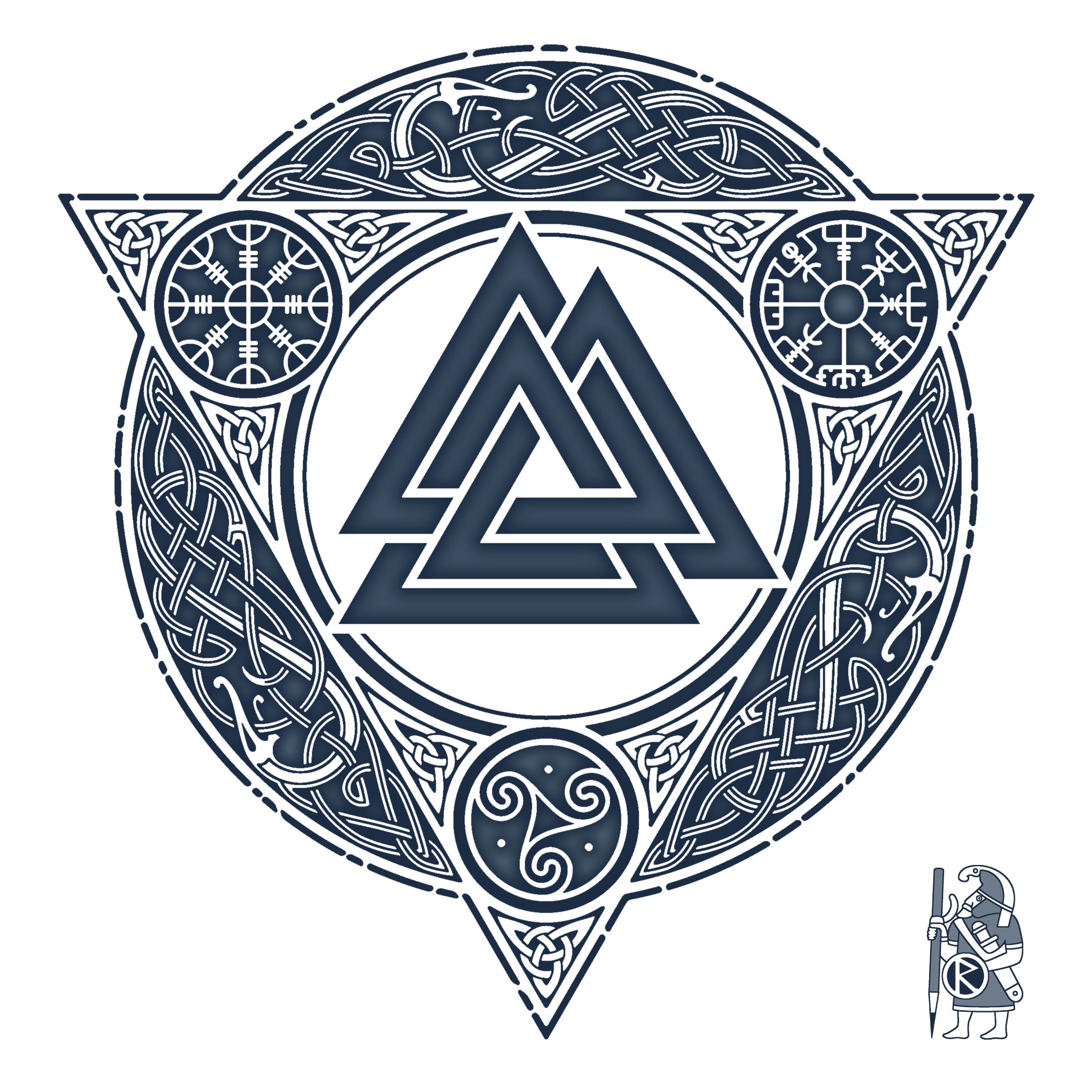 Valknut ice flame knotwork tattoo design by raidho for Valknut symbol tattoo