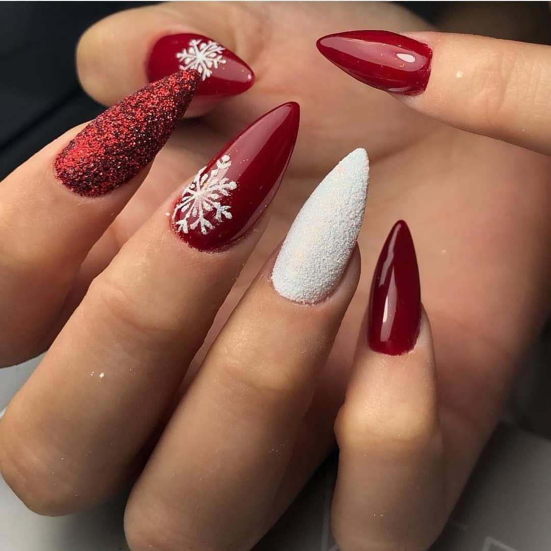 80 Winter Nail Art Design Ideas-Click Here for Larger Image: red nails; stiletto… – Winter Nails Acrylic - Water