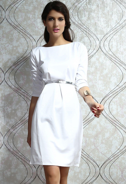 White mini dress retro elegant bodycon cocktail silver belt bride
