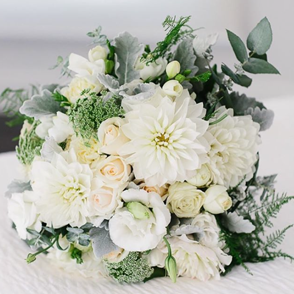 Summer Wedding Bouquet In Whites With Roses Dahlia Lisianthus