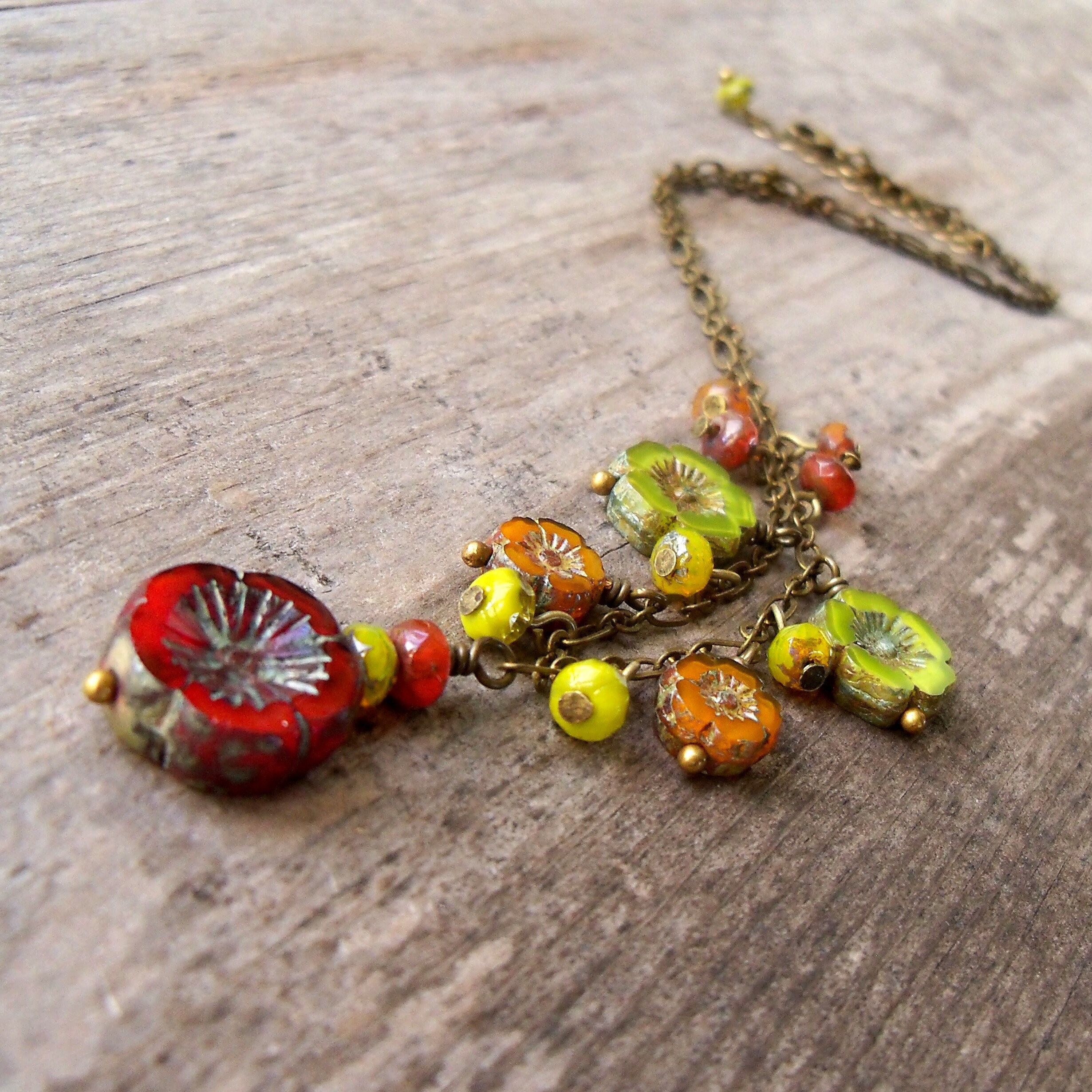 Orange and Green Series Floral Jewelry Bead Jewelry Handmade Necklace Green Necklace Orange Necklace Beaded Necklace