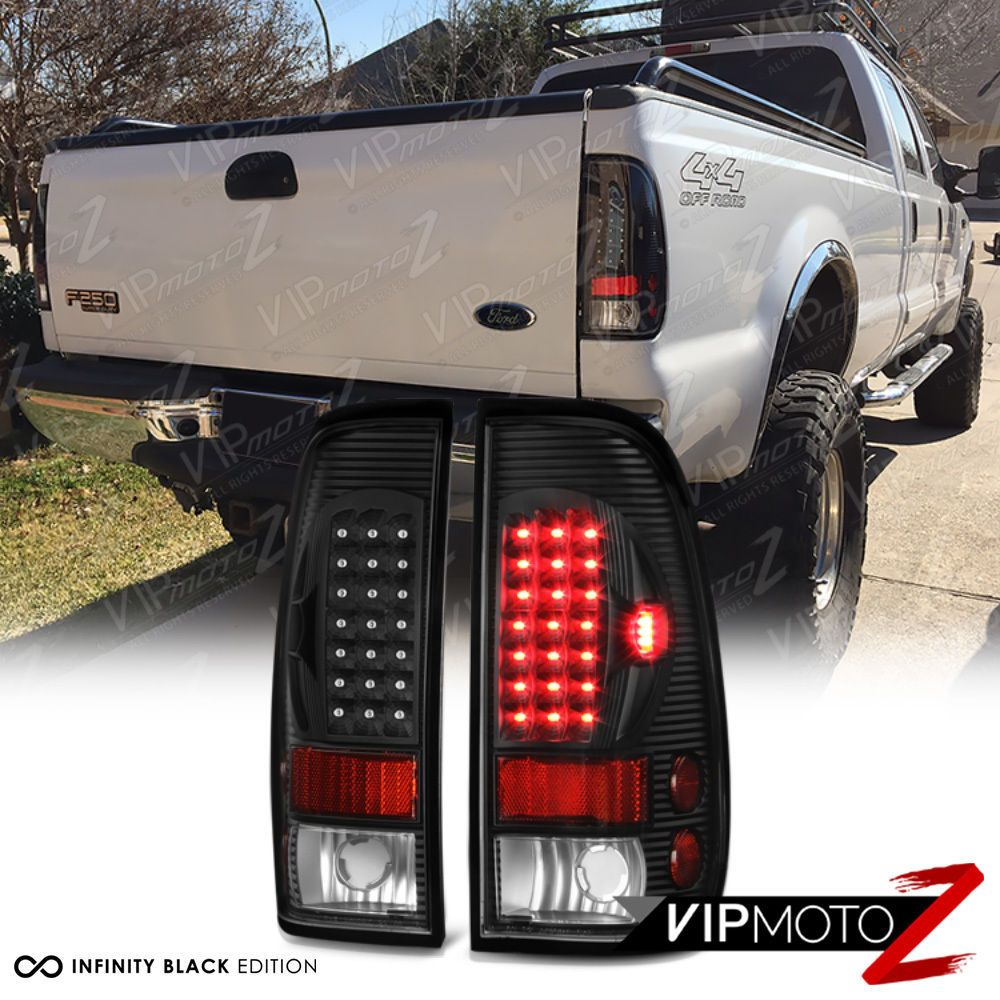 Ford 97 03 F150 99 06 F250 F350 Superduty Black Led Rear Tail Light Brake Lamp Diesel Trucks Trucks Truck Accesories