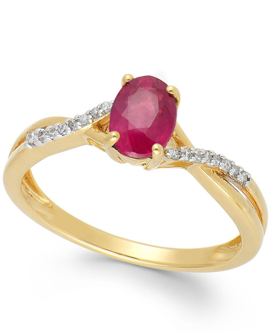 Ruby (9/10 ct. t.w.) and Diamond Accent Oval Ring in 14k Gold