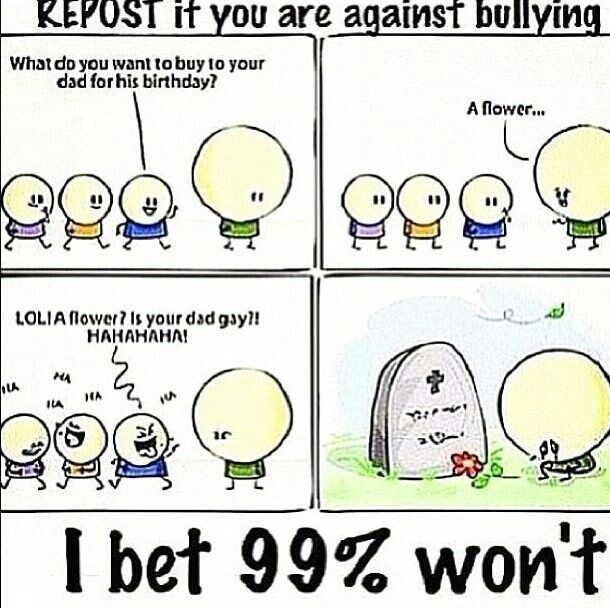 I am against bullying. Are you? Repost on most popular board too. Sorry not Beth related, but bullying needs to stop. REPOST