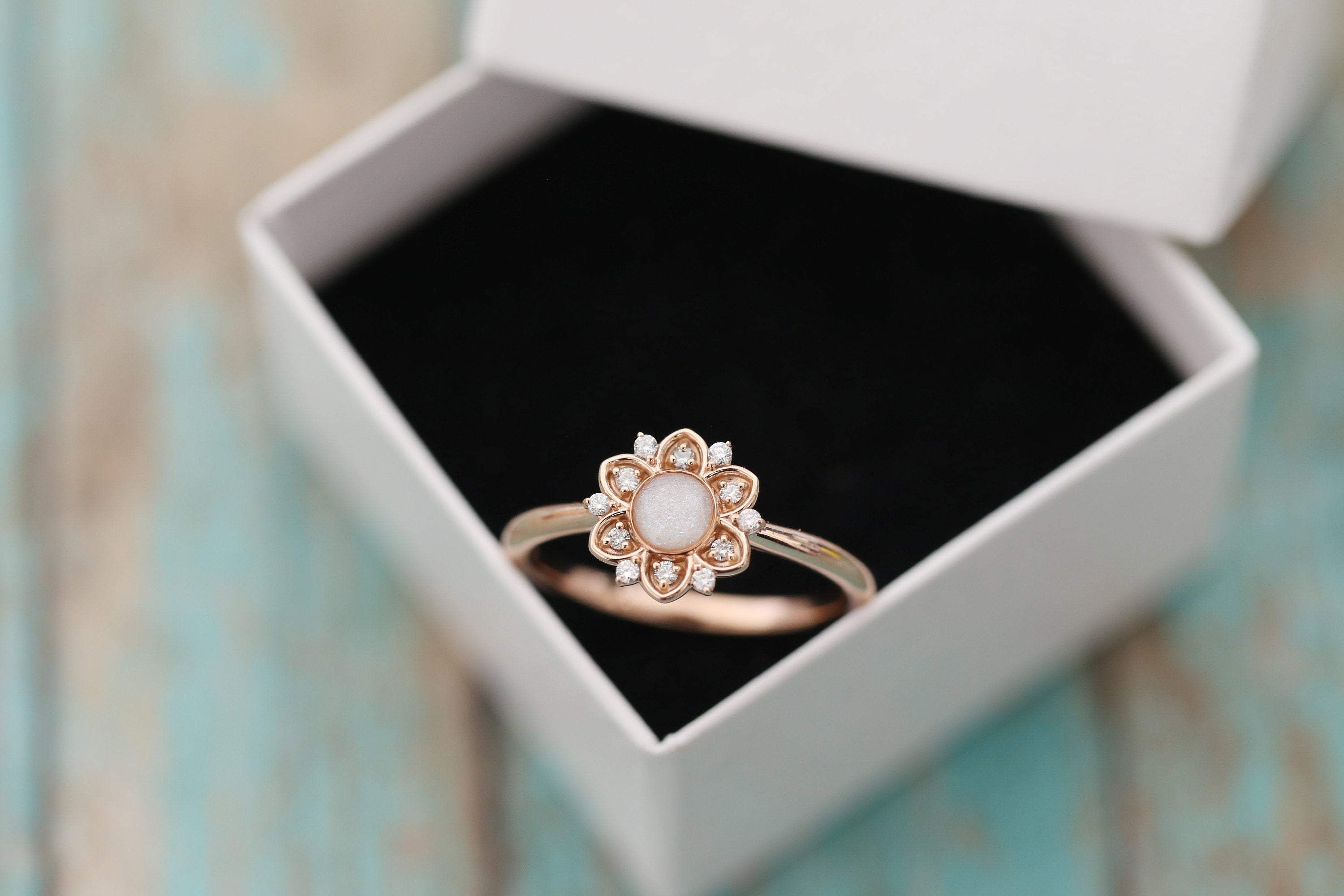 14k Rose Gold Diamond Flower Stacking Cremation Ring in