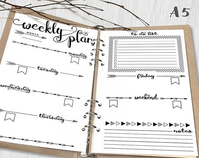 Printable Weekly Planner A Weekly Planner Printable Inserts A