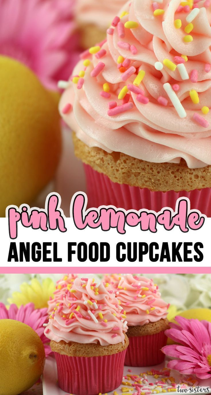 Photo of Pink Lemonade Angel Food Cupcakes –  what a super delicious Easter dessert.  Lig…