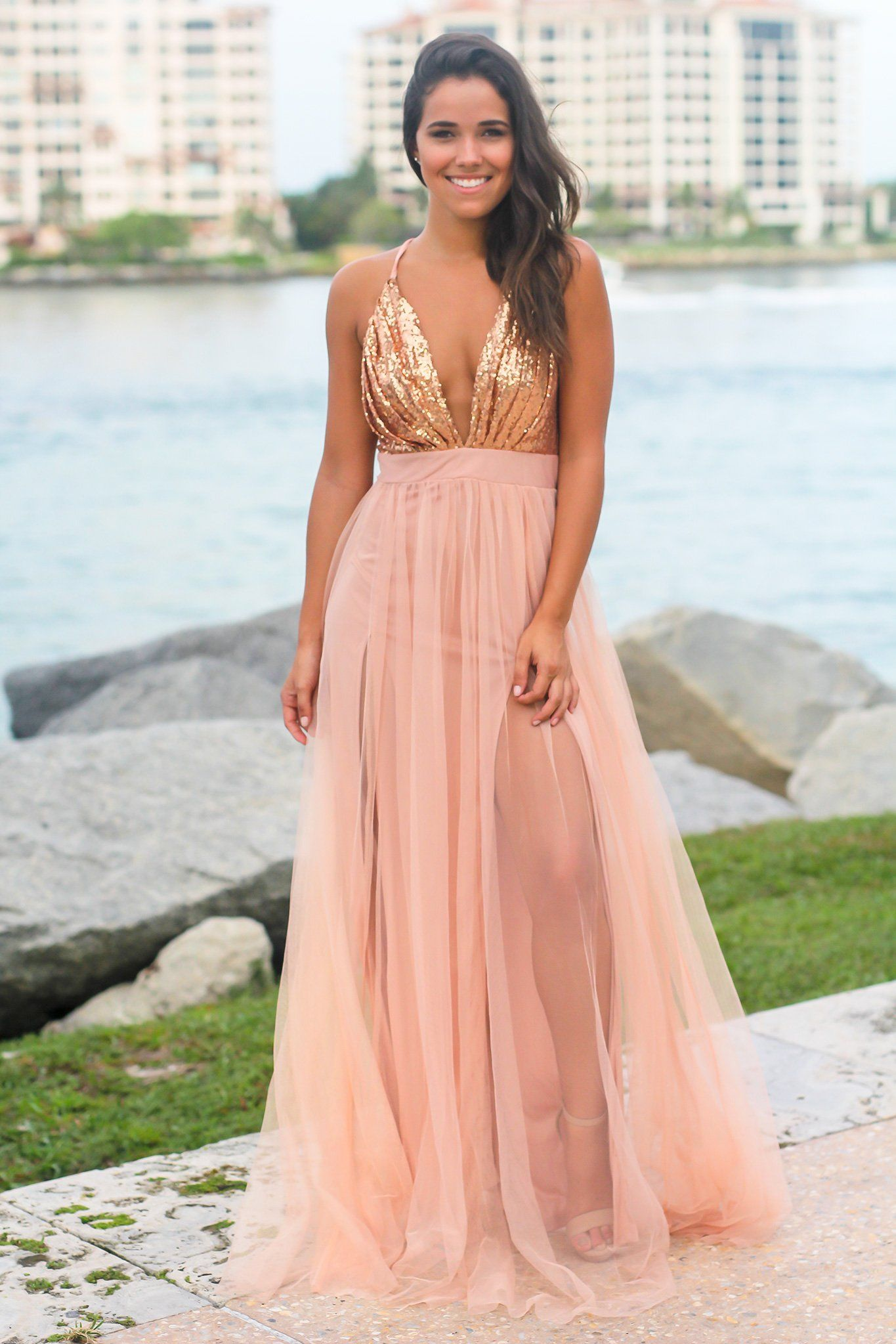b4560e10ab Rose Gold Tulle Maxi Dress with Sequin Top