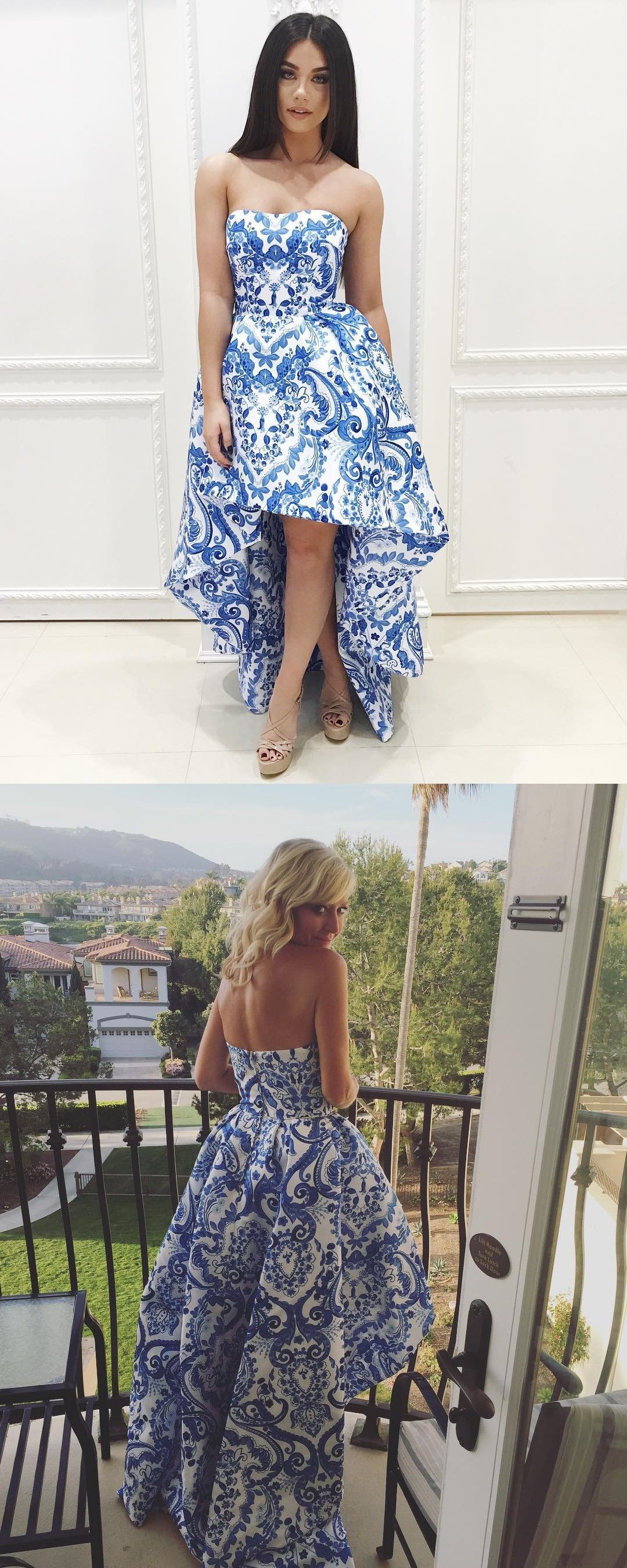 57d6269c99bb Strapless High Low Blue and White Floral Homecoming Dress ...