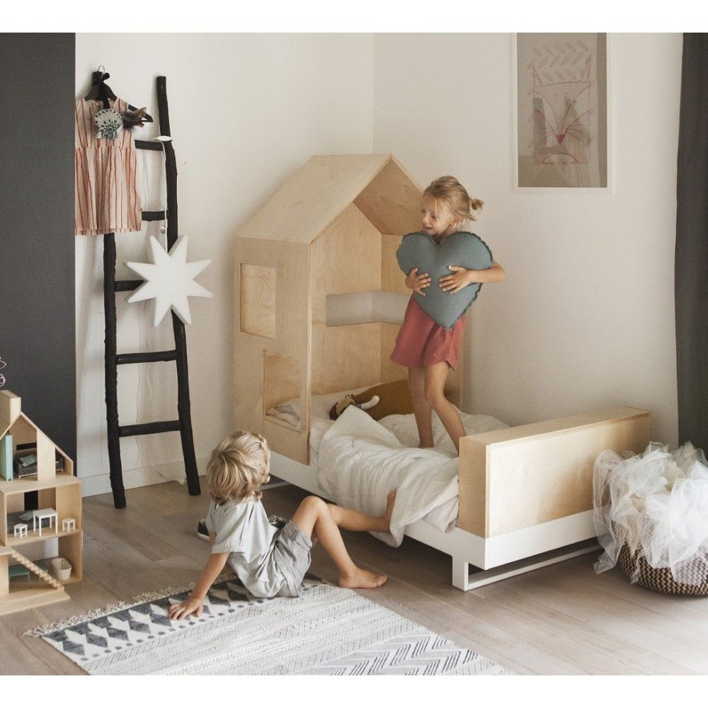Kutikai Junior Bett Hutte 80x160 Cm Natur Kinderschlafzimmer