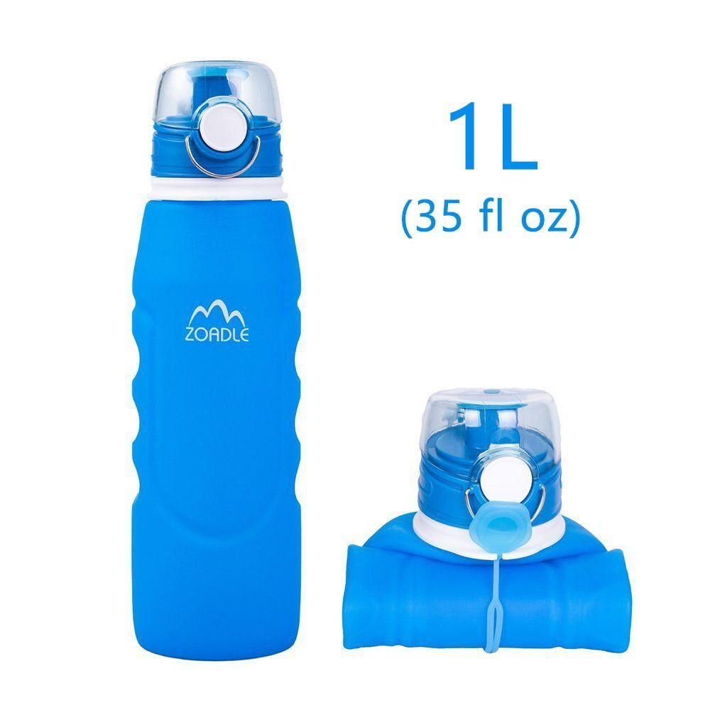 Zoadle Reusable Collapsible Water Bottles 1 Litre 35 Oz Bpa Free Fda Approved Leak Proof Wide Mouth F With Images Collapsible Water Bottle Water Bottle Sport Water Bottle