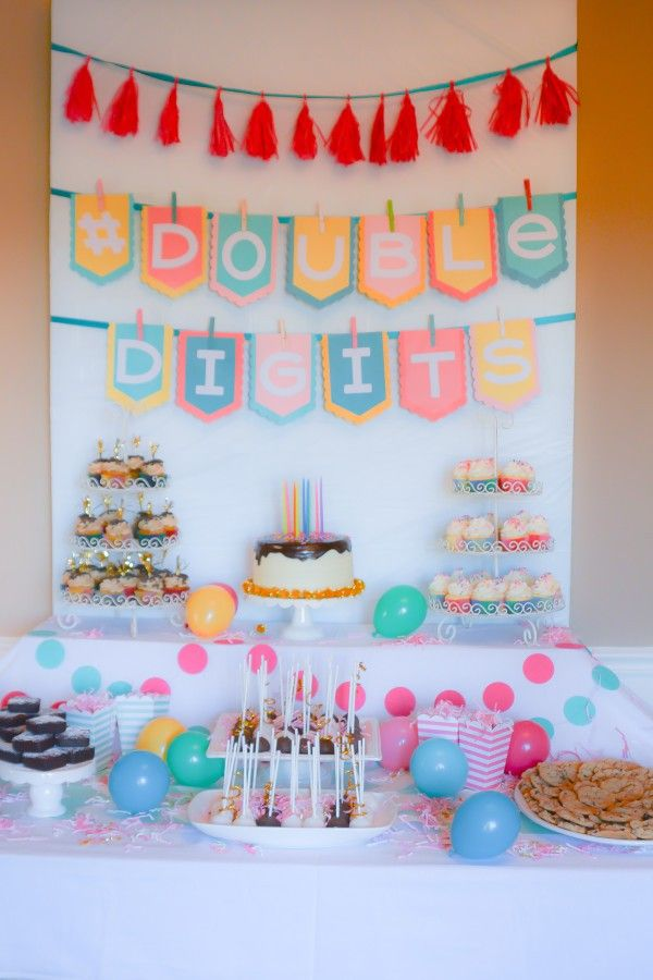 A Doubledigits Party Fit For A 10 Year Old Bright Colors Chevron Homemade Banners And More Beverage Table Brought To You By Original New York Seltzer