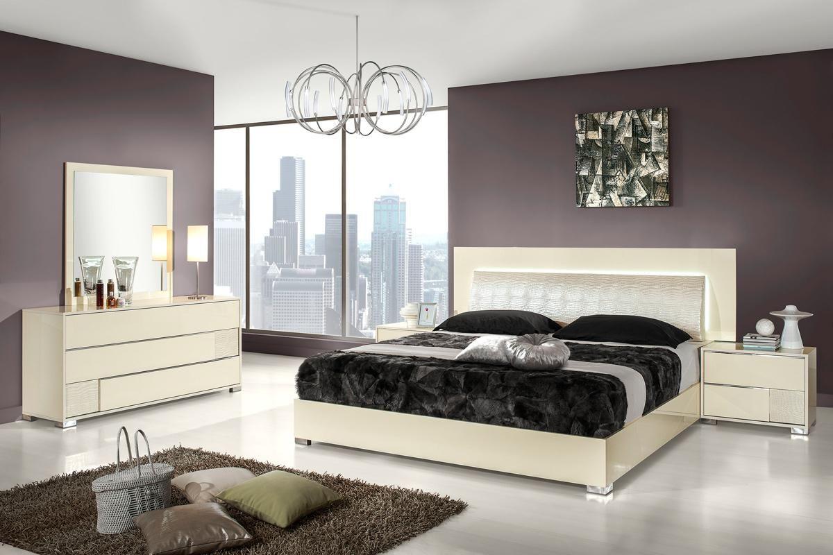 Modrest Grace Italian Modern Beige Bedroom Set Modern