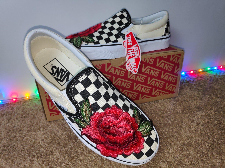 Slip On Rose Floral Embroidered Vans