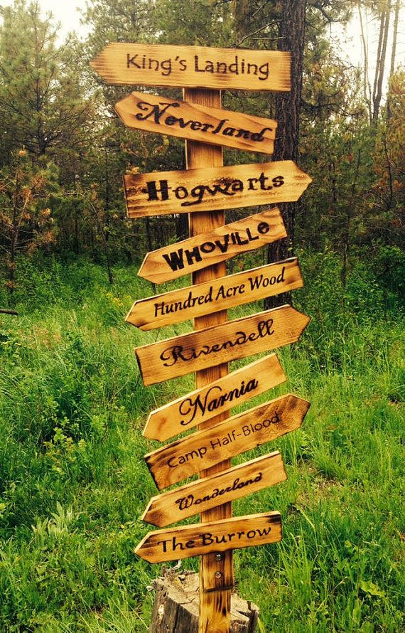 These Whimsical Directional Signs Can Be Ordered As Pictured Or Customized To Include Your Favorite Fictional Or Non F In 2020 Directional Signs Garden Signs Sign Post
