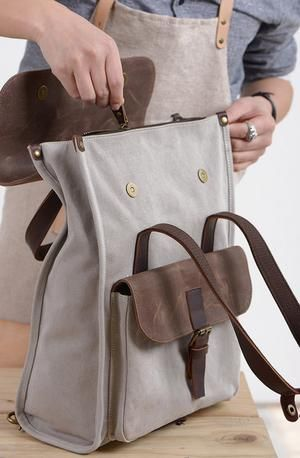 Photo of Travel Backpack, Laptop Rucksack, Vintage Shoulder Bag, Handmade Canvas School Bag NX011