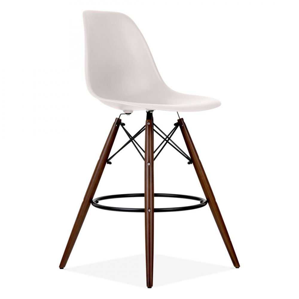 Iconic Designs DSW Style Bar Stool, Plastic Seat, Beige