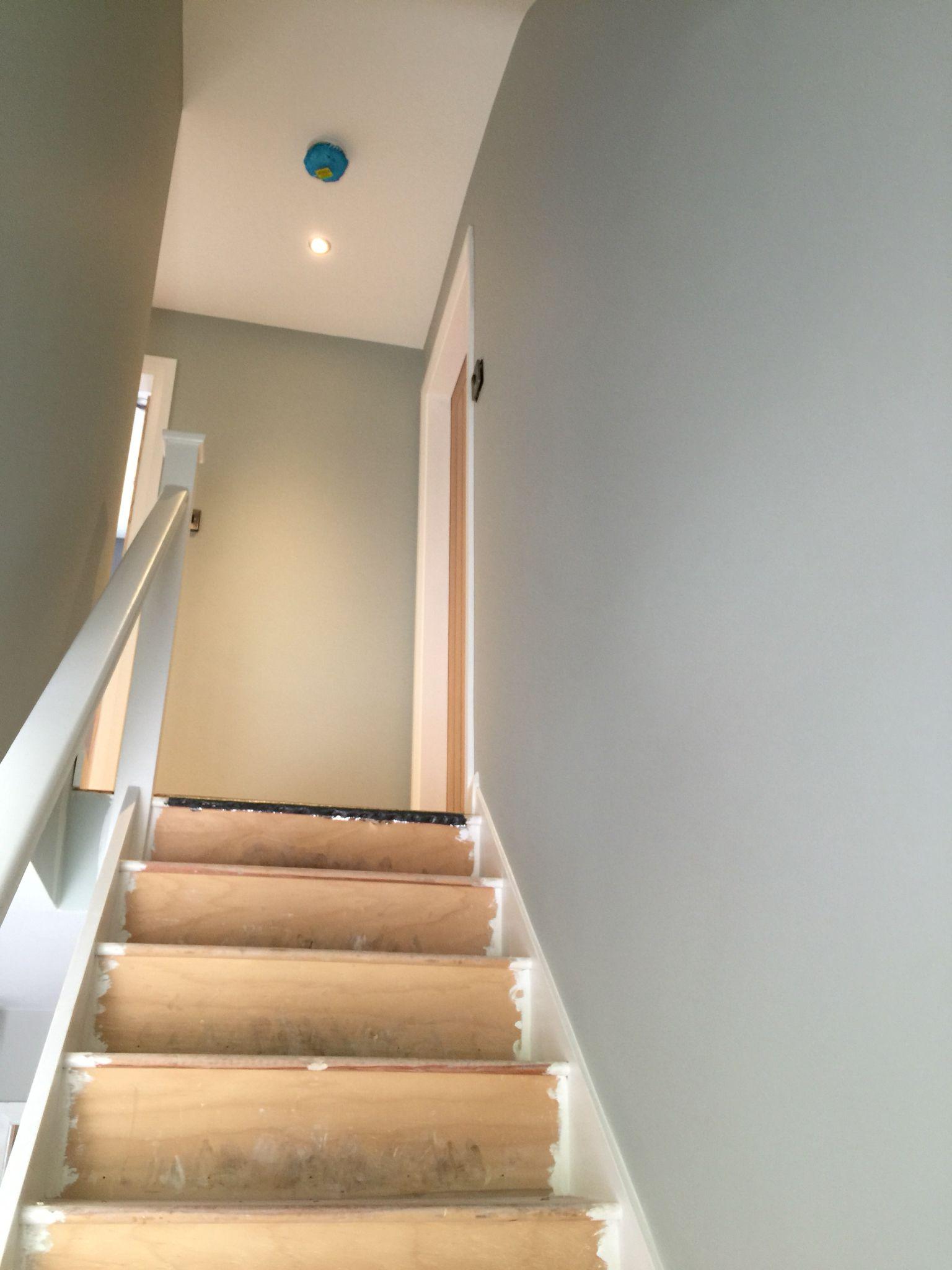 Farrow & Ball, mizzle.  Gorgeous colour for the stairs