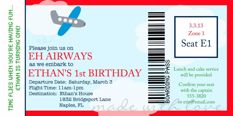 Airplane boarding pass birthday invitation personalized and airplane boarding pass birthday invitation personalized and printable 4x8 1250 via etsy filmwisefo