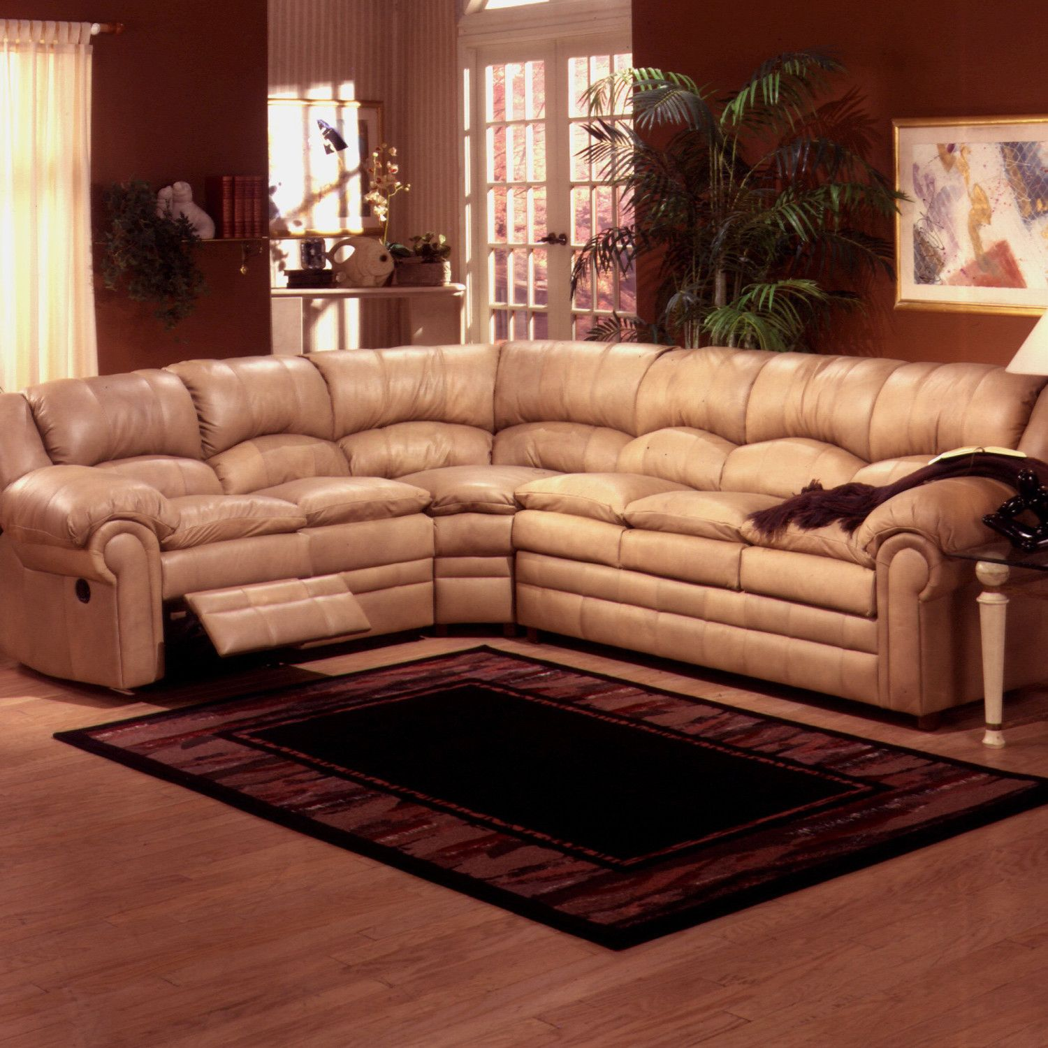 Omnia Furniture Riviera Leather Reclining Sectional In Black With Air Dream Mattress