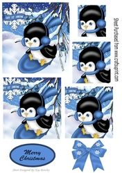 Penguin playing in the snow on blue sledge with bow   pyramids on Craftsuprint - View Now!