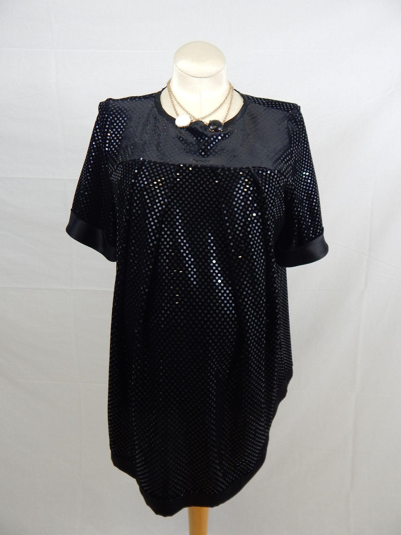 Black & White Floral Satin Short Sleeve Blouse-Large