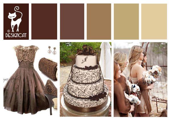 Fall Wedding Inspiration Beige: Brown Wedding Inspiration Colour Board By Designcat (Brown