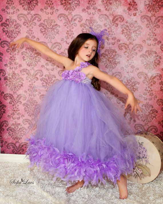 Divine Couture Luxury Lilac Little Girls Tutu Feather Dress, Baby ...