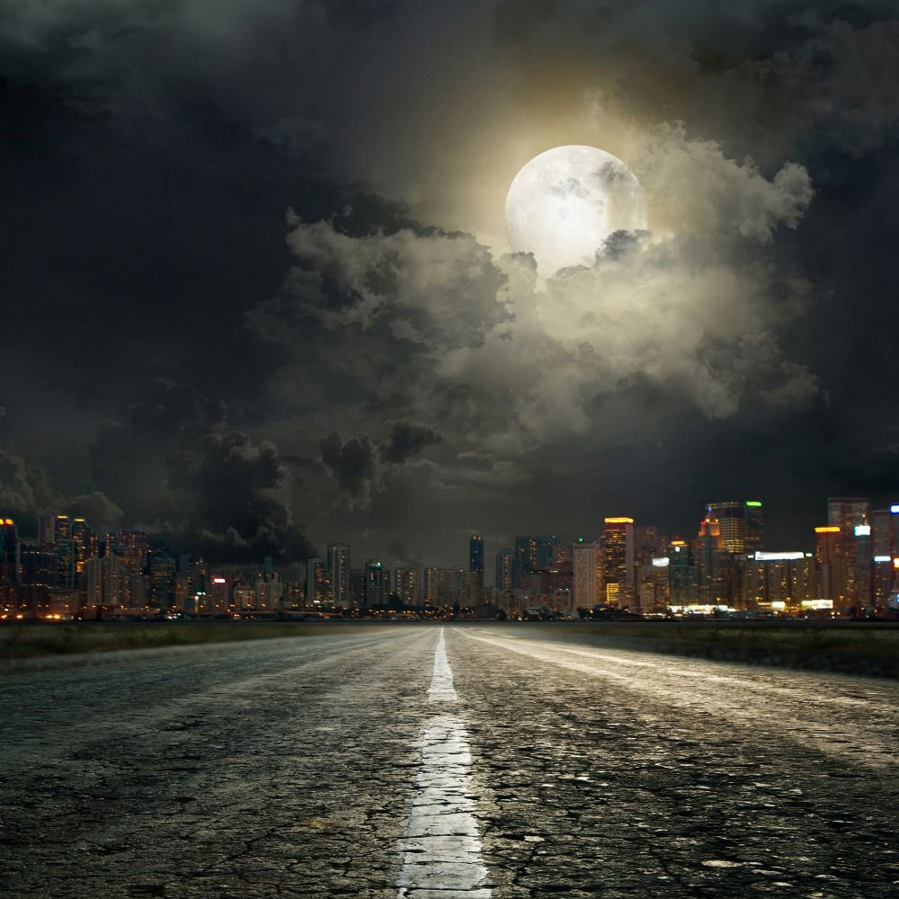 send rolled ! 8'x8' Night City Backdrop super hero, moon