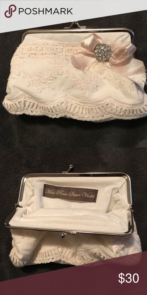Lace and satin clutch purse Vintage style adorned clutch purse; cream cotton vintage lace with torn satin and jewel button.  Perfect for day outings, weddings, evening purse and holding make-up. miss rose sister violet Bags Clutches & Wristlets