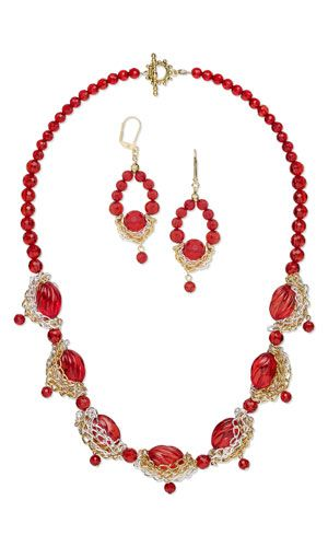 Single-Strand red Necklace and Earring Set with Acrylic Beads and Gold- and Silver-Plated Brass Chain - Fire Mountain Gems and Beads