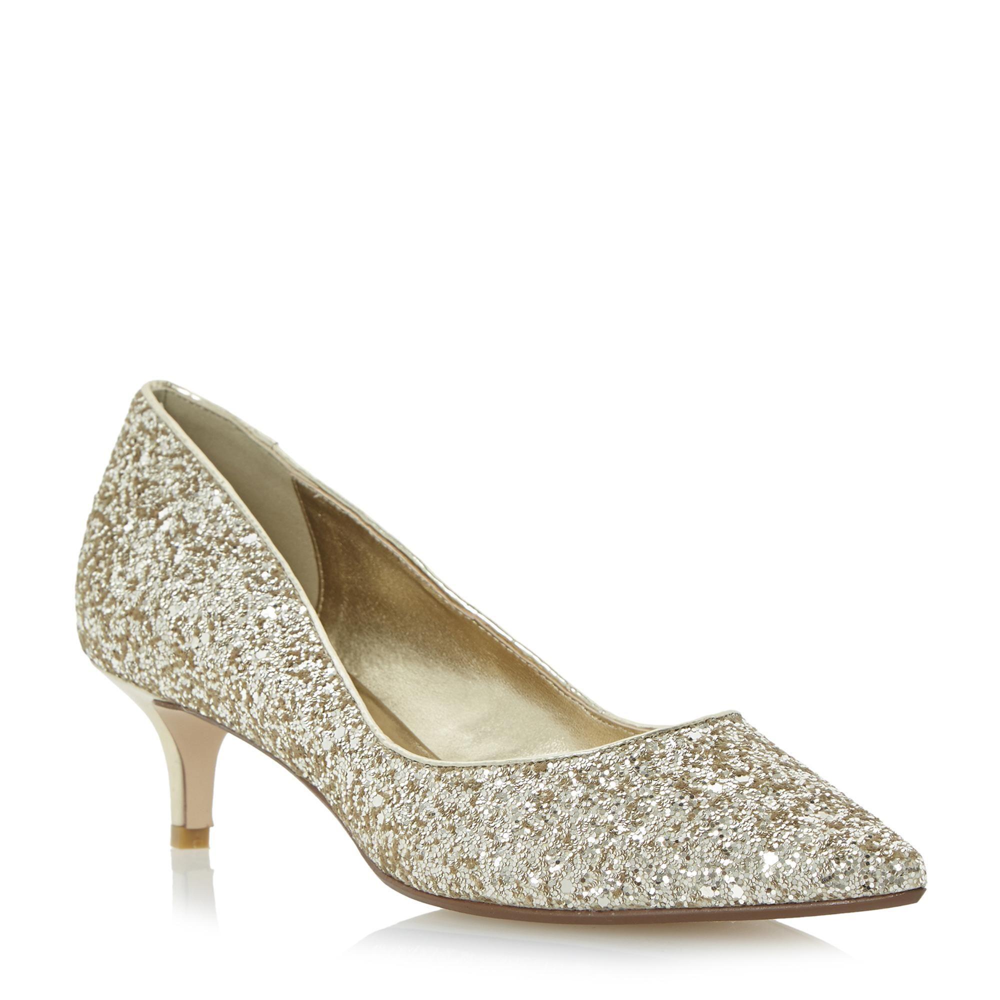 ea0c10ad3fe DUNE LADIES BLITZEN - Glitter Kitten Heel Court Shoe - gold